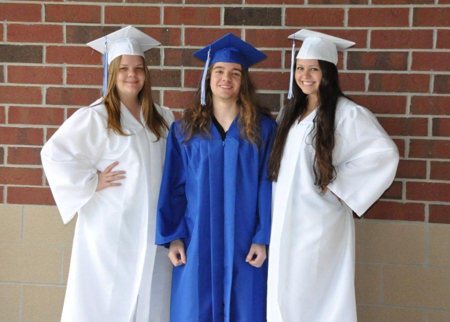Left to Right:  Valedictorians Madde Hyland, Nicholas Kawecki, and Emily WIlliams