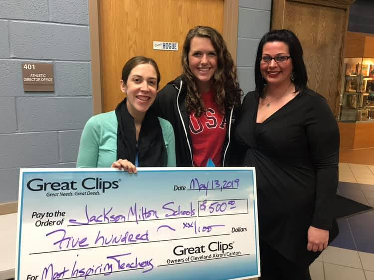 Mrs. Condon pictured with Ashley Cameron, and Great Clips representative