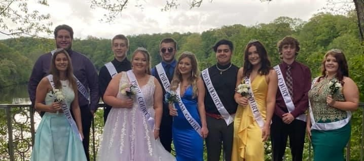 Junior Prom Court: L to R Front Row:  Jenna Jones, Noelle Phillips, Camryn Mitchell, Logan Grunder, Dana Saunders.  Back Row: AJ Bouch, Noah Kramer, Frank Prozy, Michael French and Cole Grope